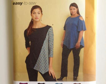 Simplicity 8453, Misses Knit Top, easy to sew, cold shoulder, asymmetrical hem, New uncut pattern