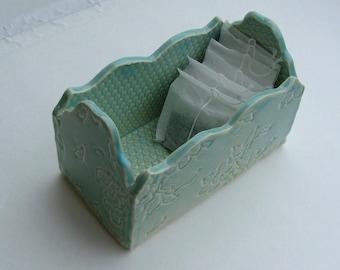 Slab Built, Handmade Ceramic  White Stoneware Box, Blue Green