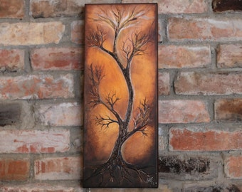 Original painting abstract tree painting on canvas tree of life wedding wall decor landscape painting