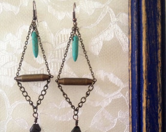 Indian metal, turquoise and chain dangy earrings