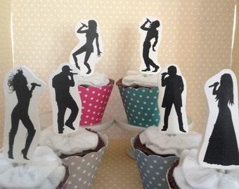 American Idol, Singing, Karaoke Party Cupcake Topper Decorations - Set of 10