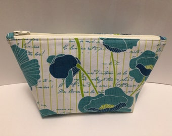Blue Poppies Large Zipper Clutch
