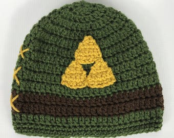 Legend of Zelda inspired Link hat, Crochet Link Hat, All Sizes, Triforce Hat, Beanie hat, Baby, Child, Kid, Adult, Women, Men, Girl, Boy