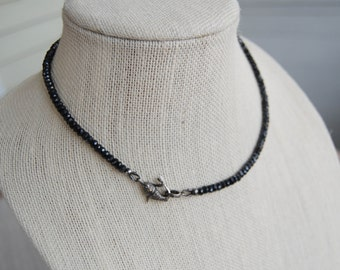 Black Spinel Pave Diamond Koi Fish Necklace