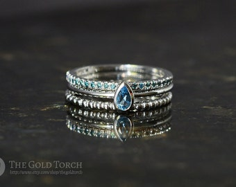 Stacking Ring Set, Three Gold or Platinum Stackable Rings with Blue Diamonds & Swiss Blue Topaz (Choice of Stones)