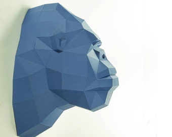 Gorilla head , kingkong head , paper trophy , Gorilla paper ,Gorilla low poly ,  papercraft, DIY, 3D, trophy, papermodel, wall decoration