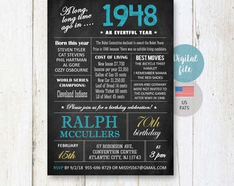 70th Birthday Invitation for men | Chalkboard invitation for him grandpa granddad adults veteran | What happened facts 1948 DIGITAL file!