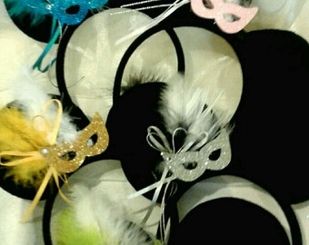 Masquerade and Feather Minnie Ear Headbands for Teens and Adult