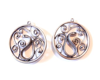 Pair of Antique Silver-tone Round Snake Charms