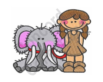 Cave Girl And Elephant - Machine Embroidery Design