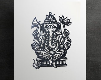 Ganesha Linocut Art Print - Wedding Gift - Hindu Art - Linocuts - Prints - Home Decor - Boho Decor - Asian - Housewarming Gift - Elephant