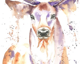 Stag Deer ART PRINT Illustration, Animal, Wildlife, Wall Art, Home Decor, Gift