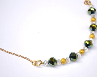 Green Crystal and Gold Starburst Bead Necklace