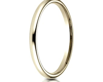 14kt Yellow Gold Comfort Fit Wedding Band 2mm, 2mm Wedding Ring, Yellow Gold Ring, Solid Gold Ring