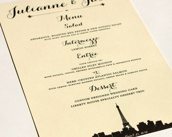 Paris Menu Cards Wedding Custom Handmade Bridal Sign Table Setting France French Fleur de lis