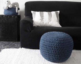 Dark Navy Crochet Pouf- Dark Blue Ottoman- Round Footstool- Floor Pillow Seating- Nautical Decor- Nursery Pouf- Knit Floor Cushion Pouffe