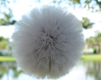Gray Tulle Pom large 12""
