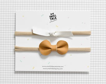 Bow Set - Mini Knot Bow and Petite Bow - Baby Shower Gift - Baby Bow Headbands - Vegan Leather Bows