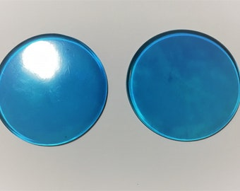 Giant blue transparent resin circle earrings with surgical steel studs or clipons / clear circle studs / clipon earrings / resin earrings