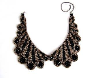 Cabbia Beaded Necklace,Beaded  Yoke ,Collar  Patch,Collar Embellishment,Handmade,Dress Embellishment,Fashion Craft,