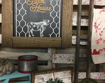 Chalk Sign, Chalkboard, Framed Chalkboard, Farmhouse Chalkboard, Cow, Chalk Couture, farmhouse decor, rustic decor, farmhouse sign