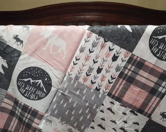 Adventure Moose Patchwork Baby Blanket or Quilted Comforter- Bear, Pine tree, Moose, Lodge, Check, Plaid, Mountain, Stars, Gray, Pink