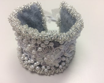 Hand Beaded lace cuff