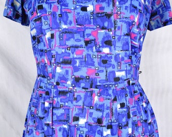 Vintage 40s 50s Asbstract Geometric Print Day Dress w Jacket Blue Pink Novelty
