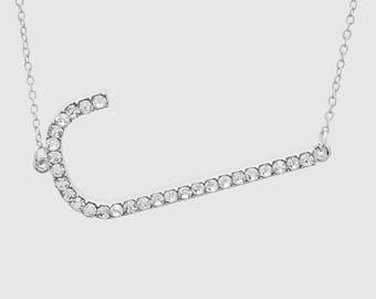 Large Rhinestone Initial Necklace; Designer Inspired Large Sideways Initial Pendant Necklace; Oversized Rhinestone Initial Necklace
