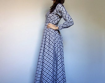 Holiday Dress Vintage Maxi Dress with Sleeves Plaid Dress 80s Floor Length Dress Gray Dress Long Sleeve Maxi Dress - Small to Medium S M
