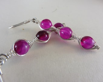 """Earrings with Pink Agate Beads - """"Little Princess"""""""