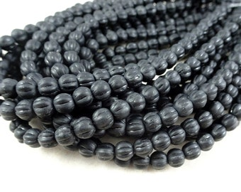 Czech Beads, 5mm Melon, Czech Glass Beads - Matte Black (D5M/SM-M2398) - Qty. 50