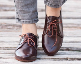 Leather Women Shoes, Brown Oxford Shoes, Close Shoes, Flats , Free Shipping