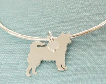 Siberian Husky Dog Bangle Bracelet, Sterling Silver Personalize Pendant, Breed Silhouette Charm, Rescue Shelter, Mothers Day Gift