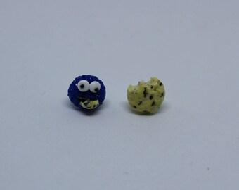 Cookie Monster and Cookie Stud Earrings