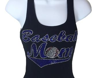 Rhinestone Baseball Mom Tank Top Black shirt
