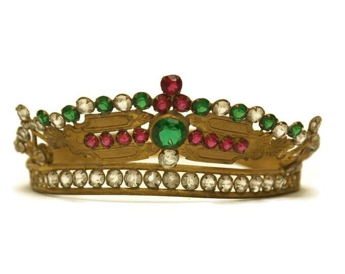 French Antique Virgin Mary Statue Crown. Wedding Tiara Crown. Faux Emerald Tiara.