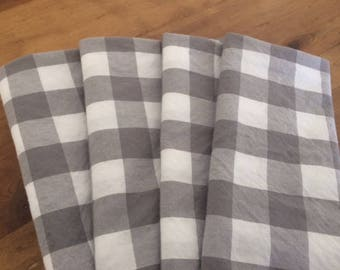 Wedding Cloth Napkins - Gray and White Buffalo Check Gingham Cloth Napkins - by CHOW with ME