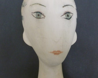 Vintage Handmade and Painted Paper Mache Lady Hat Display Mannequin Head