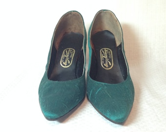 Vintage Green Silk High Heels