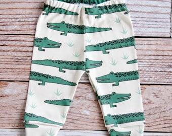 organic baby leggings, baby pants, baby leggins, toddler pants, organic toddler leggings, alligators, crocidiles, green, organic baby