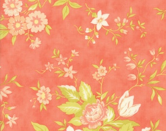 Fig Tree Fabric - Ella and Ollie Fabric Yardage - Moda Quilt Fabric - Apricot Floral Fabric By The 1/2 Yard