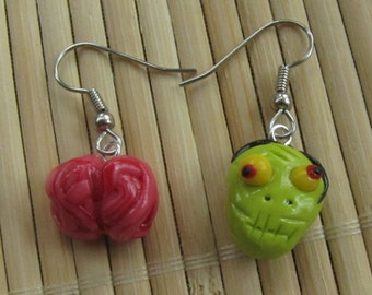 Mismatched Zombie and Brain Dangle Earrings - Halloween Jewelry - Glow in the Dark Polymer Clay
