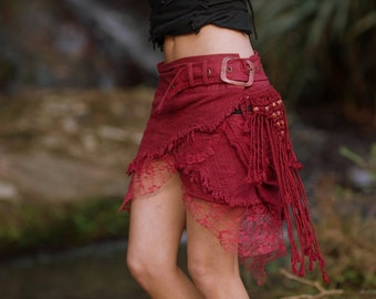 Jungle Skirt with Pockets (Red) - Festival Clothing Gypsy Festival Goa Bohemian Fairy Hippie Boho Wrap with Belt and Pockets