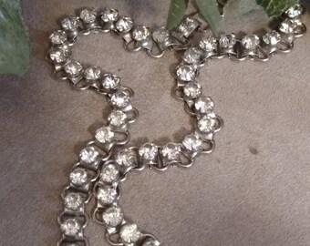 Rhinestone Choker, Vintage Rhinestone Necklace, Choker Style, Silver Rhinestone Choker, Rhinestone Link Vintage Choker, Good Condition