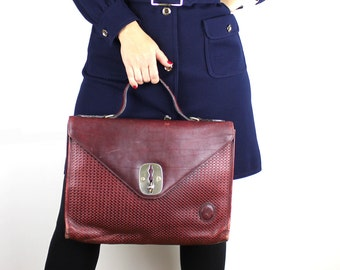 Vintage Marroquinera Maroon Red Leather Briefcase Attache