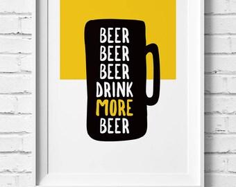 Drink Beer Prints – Set of 4 – Original Art Print, Drink Series, Bottles