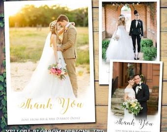 10 Foto-Hochzeit-Dankeschön-Karten personalisiert, Herr und Herr mit gedruckten Fotos Mr & Mrs gefaltet flach Postkarten-Frau und Frau Fantasy Wolken Liebe