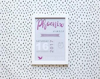 Custom Made Baby Announcement - A4 Nursery Print