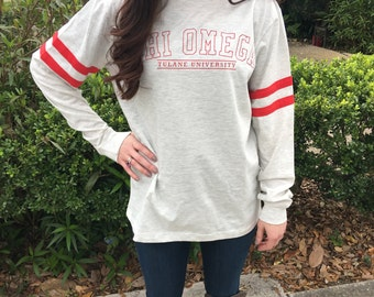 Sorority/School/Team Vintage Stripe Jersey Long Sleeve Shirt